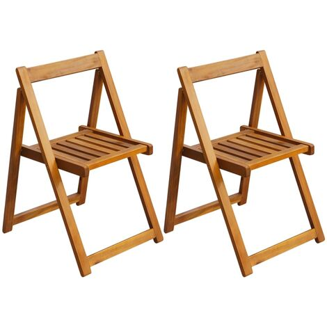 Folding Garden Chairs 2 pcs Solid Acacia Wood - Brown