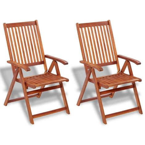 Folding Garden Chairs 2 pcs Solid Acacia Wood Brown - Brown
