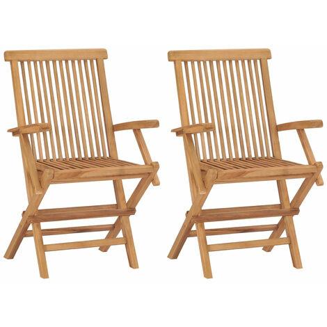 Folding Garden Chairs 2 pcs Solid Teak Wood