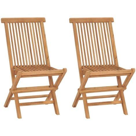 Folding Garden Chairs 2 pcs Solid Teak Wood - Brown