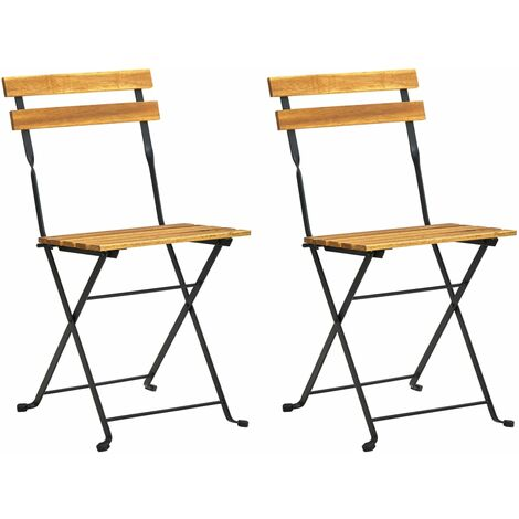 Folding Garden Chairs 2 pcs Steel and Solid Acacia Wood - Brown