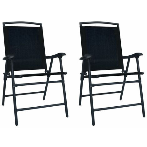 Folding Garden Chairs 2 pcs Texilene Black