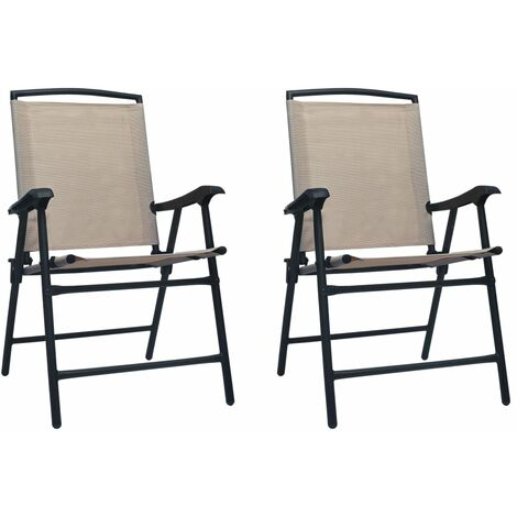 "main image of ""Folding Garden Chairs 2 pcs Texilene Taupe"""