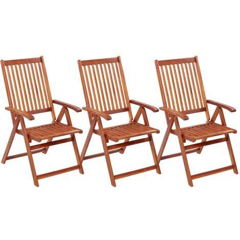 Folding Garden Chairs 3 pcs Solid Acacia Wood