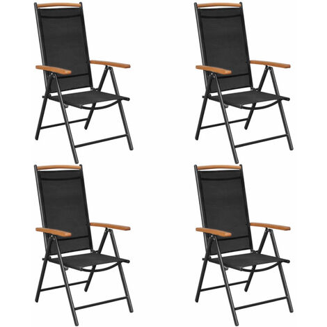 Folding Garden Chairs 4 pcs Aluminium and Textilene Black