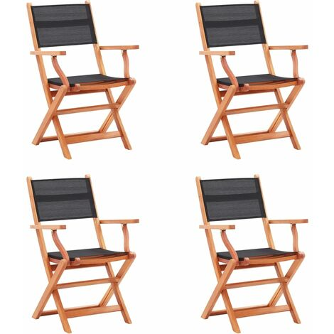 Folding Garden Chairs 4 pcs Black Solid Eucalyptus Wood and Textilene