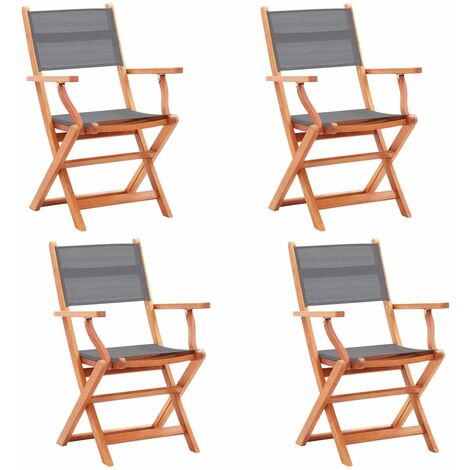 Folding Garden Chairs 4 pcs Grey Solid Eucalyptus Wood and Textilene