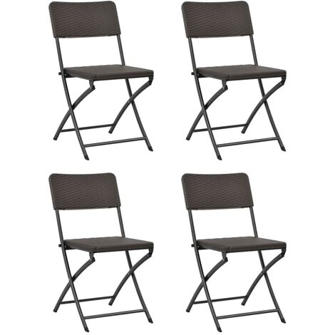 Folding Garden Chairs 4 pcs HDPE and Steel Brown