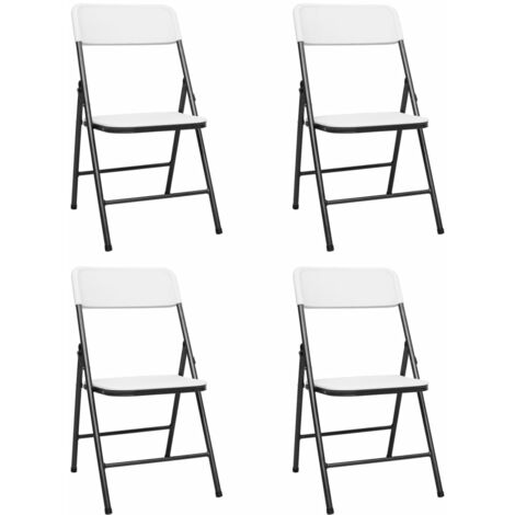 Folding Garden Chairs 4 pcs HDPE White