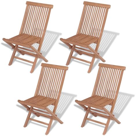 Folding Garden Chairs 4 pcs Solid Teak Wood