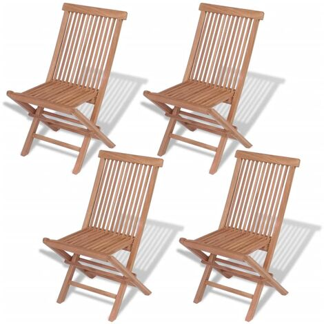 Folding Garden Chairs 4 pcs Solid Teak Wood - Brown