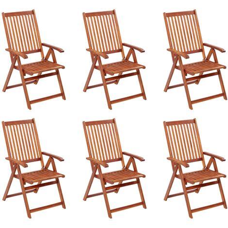 Folding Garden Chairs 6 pcs Solid Acacia Wood