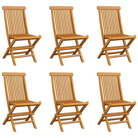 Folding Garden Chairs 6 pcs Solid Teak Wood