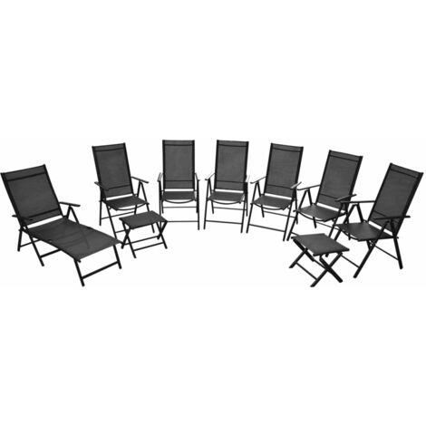 Folding Garden Chairs 9 pcs Aluminium Black