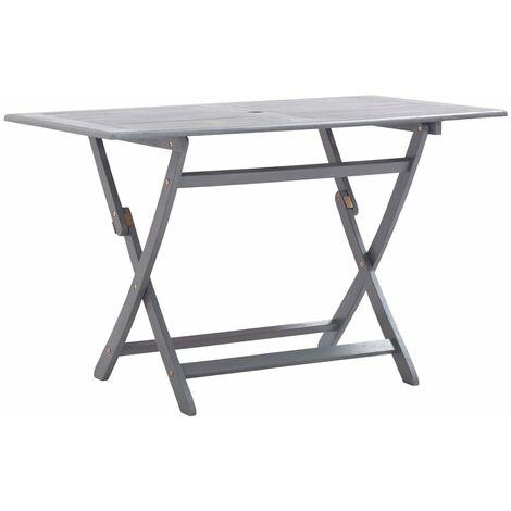 Folding Garden Table 120x70x75 cm Solid Acacia Wood - Grey