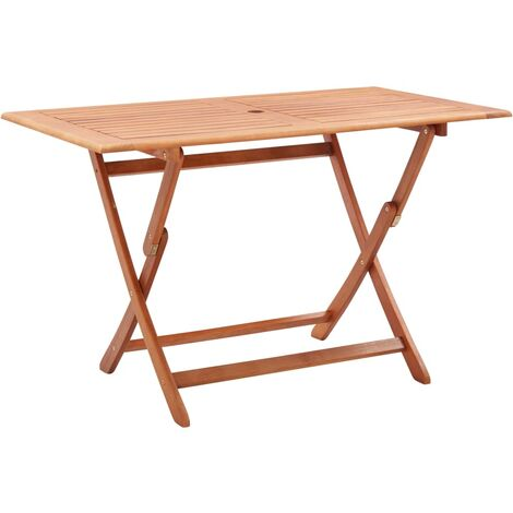 Folding Garden Table 120x70x75 cm Solid Eucalyptus Wood - Brown