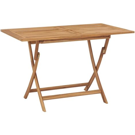 Folding Garden Table 120x70x75 cm Solid Teak Wood