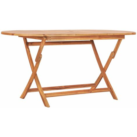 Folding Garden Table 160x80x75 cm Solid Teak Wood