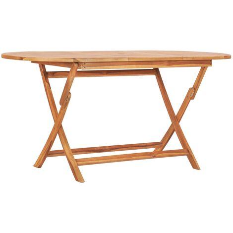 Folding Garden Table 160x80x75 cm Solid Teak Wood - Brown
