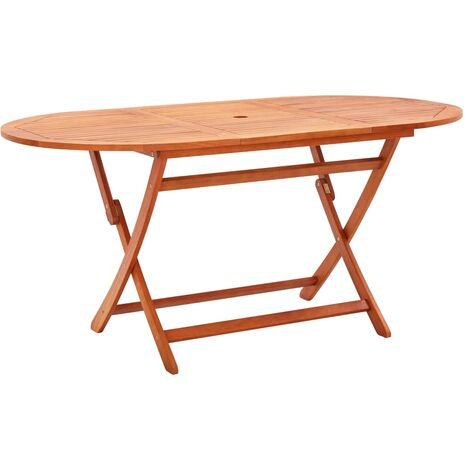 Folding Garden Table 160x85x74 cm Solid Eucalyptus Wood - Brown