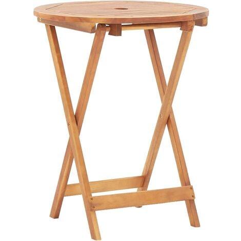 Folding Garden Table 60x75 cm Solid Acacia Wood - Brown