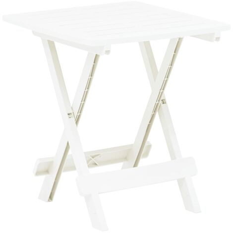 Folding Garden Table White 45x43x50 cm Plastic - White
