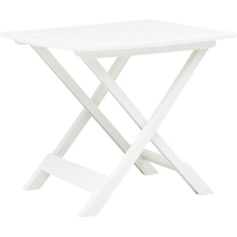 Folding Garden Table White 79x72x70 cm Plastic - White