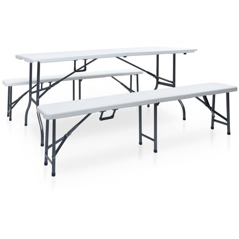 Folding Garden Table with 2 Benches 180 cm Steel and HDPE White