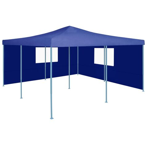 Folding Gazebo with 2 Sidewalls 5x5 m Blue