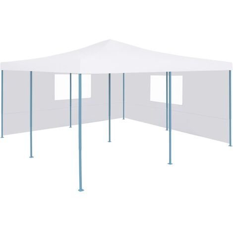 Folding Gazebo with 2 Sidewalls 5x5 m White