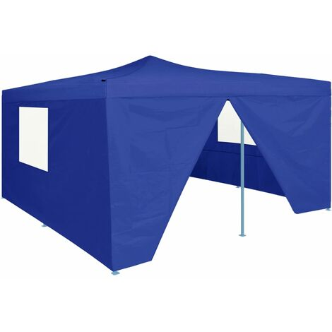Folding Gazebo with 4 Sidewalls 5x5 m Blue