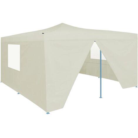 Folding Gazebo with 4 Sidewalls 5x5 m Cream