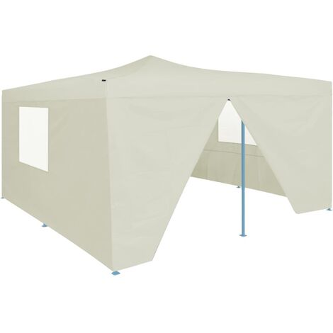 Folding Gazebo with 4 Sidewalls 5x5 m Cream