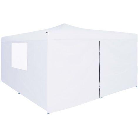 Folding Gazebo with 4 Sidewalls 5x5 m White