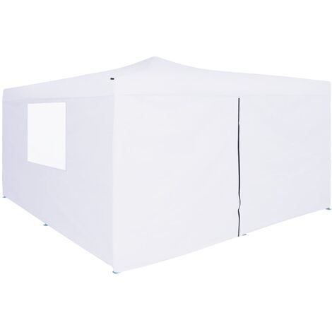 Folding Gazebo with 4 Sidewalls 5x5 m White
