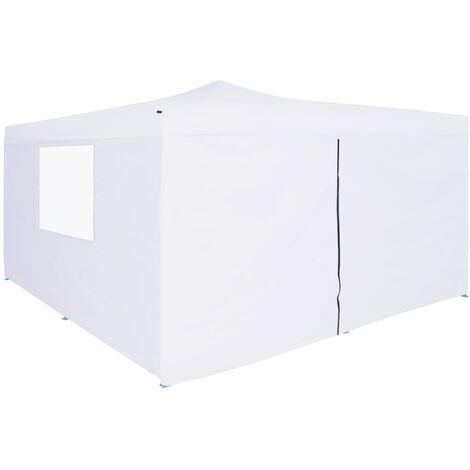 Folding Gazebo with 4 Sidewalls 5x5 m White - White