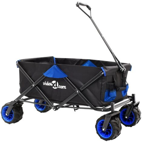 Folding Hand Trolley Metal Blue and Black