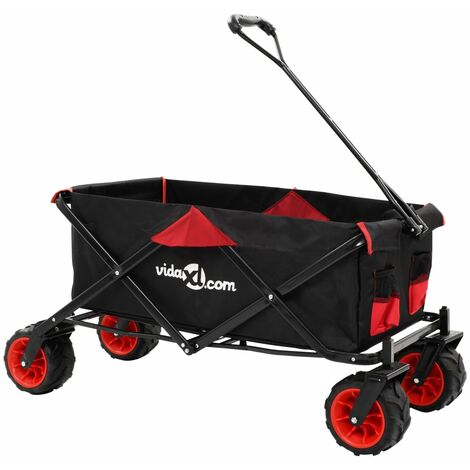 Folding Hand Trolley Metal Red and Black