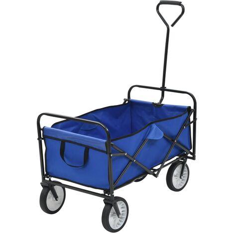 Folding Hand Trolley Steel Blue