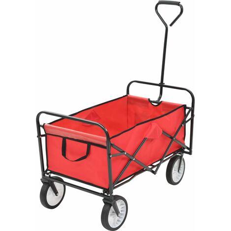 Folding Hand Trolley Steel Red