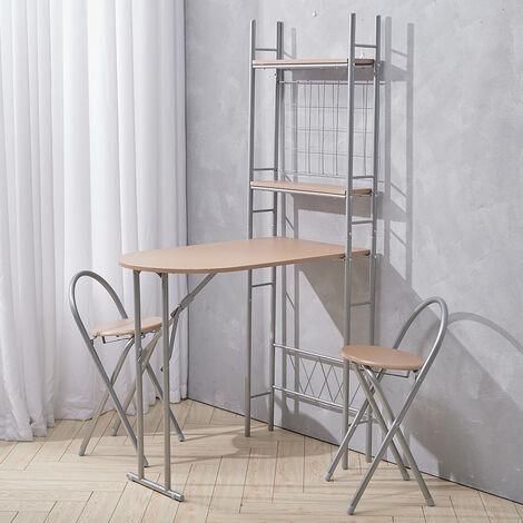Folding Kitchen Breakfast Bar Dining Table + 2 Stool Chair Set W/ Storage Shelf
