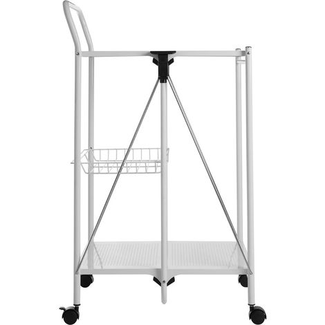 Folding Kitchen Trolley, 2 Shelves / 1 Basket, White / Rectangular