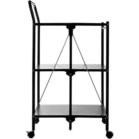 Folding Kitchen Trolley, 3 Shelves, Black / Rectangular