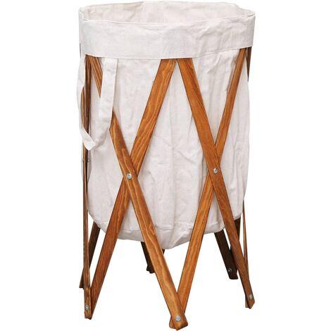 Folding Laundry Basket Cream Wood and Fabric