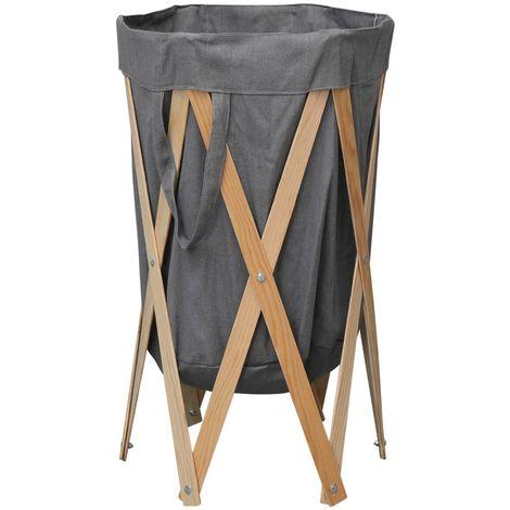 Folding Laundry Basket Grey Wood and Fabric