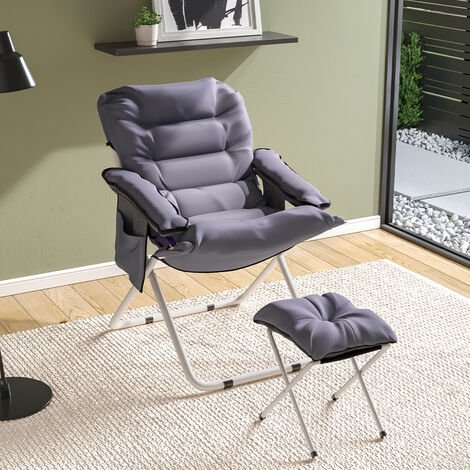 Folding Moon Chair with footstool Grey 75*70*92