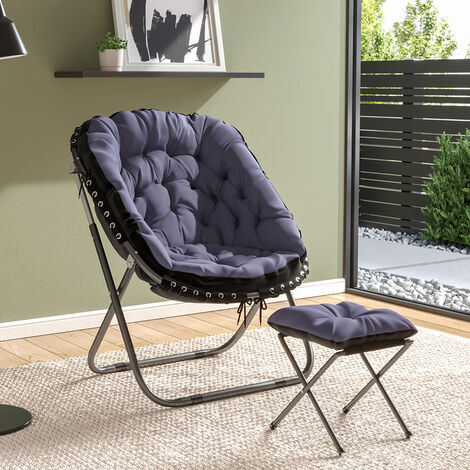 Folding Moon Chair With Footstool Set 75x70x95cm,Grey