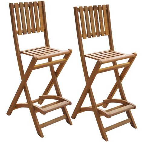 Folding Outdoor Bar Stools 2 pcs Solid Acacia Wood