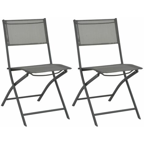 Folding Outdoor Chairs 2 pcs Steel and Textilene