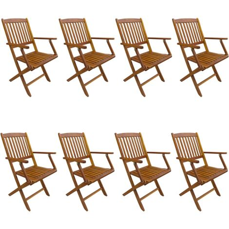 Folding Outdoor Chairs 8 pcs Solid Acacia Wood